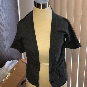 American Eagle Gray Short Sleeve Button Cardigan